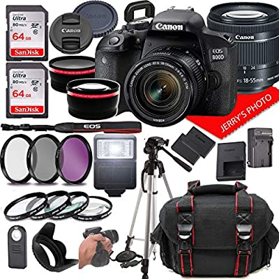 Canon EOS 800D (Rebel T7i) DSLR Camera w/Canon EF-S 18-55mm F/4-5.6 is STM Zoom Lens + Case + 128GB Memory (28pc Bundle) from Jerry's Photo | Canon Intl
