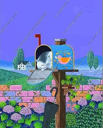 PLYBGC Pintar por Numeros,DIY Pintura acrílica Kit Gato Escondido en el buzón Kit de Pintura al óleo de Lienzo DIY para Niños con Pinceles, Pigmento Acrílico 40x50cm
