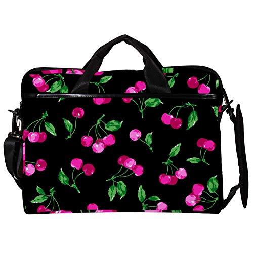 TIZORAX Laptop Messenger Shoulder Bags Cherry Patthern On Black Computer Sleeve Notebook Carrying Case 15-15.4 inch Handbag