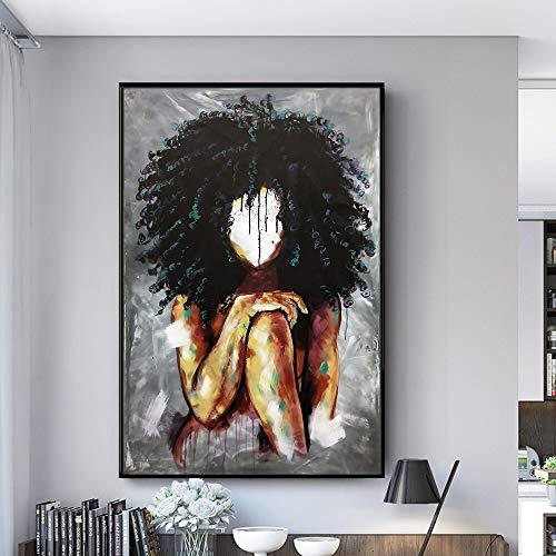 wZUN Chica Africana Abstracta en la Pared Lienzo Pintura Arte Carteles e Impresiones Arte Africano Cuadros de Pared decoración de la Pared del hogar 50x70 cm