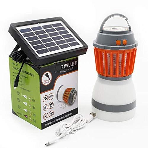 Amyove Lámpara Mosquitos Multifunción 5V portátil 2 en 1 lámpara LED para Matar Mosquitos, lámpara para Acampar, con Panel Solar para jardín, Uso doméstico en casa Panel Solar + Cable USB