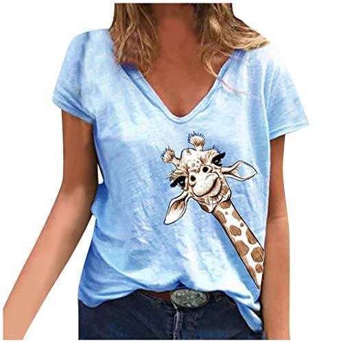 yazidan Buntes Giraffen Druck Grafik Inspirierendes T-Shirts Damen Hemd Frauen Kurzarm Oberteile T-Stück Lässiges Tee Tunika Tops