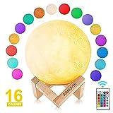 AIMIUVEI Lámpara de Luna 3D con 16 Colores RGB Luz Nocturna LED Lampara Luna Grande 15 cm Conexión Usb Intensidad a Elegir Luz de Noche Ambiente Lámparas para Niños Bebé Regalo de Fiesta Decoración