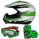 Leopard LEO-X16 Casco de Motocross para Niños y Guantes y Gafas de Moto - Verde XL (55cm) - Bicicleta Motocicleta ATV Patio ECE 22-05 Aprobado