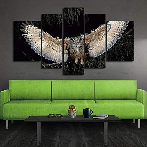 ZSYNB 5 lienzos 5 Piezas Pared Arte Pintura alas búho Cuadros Impresiones en Lienzo Animal la Imagen decoración Aceite para el hogar decoración Moderna impresión