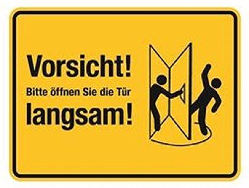 Folie selbstklebend Vorsicht! Bitte öffnen Sie die Tür langsam! - 200x150 gelb/schwarz (Tür rechts)