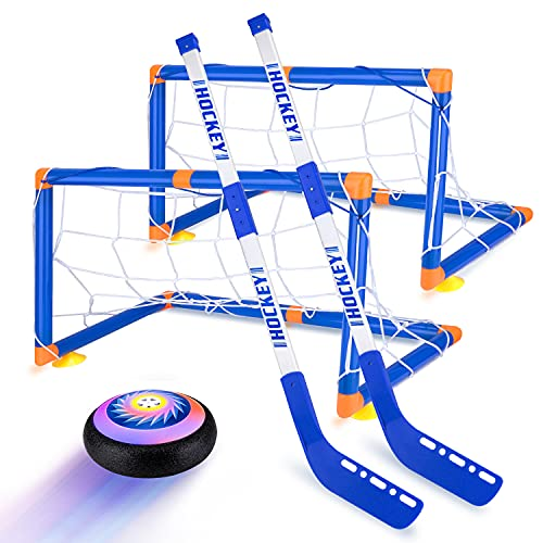 Hover Hockey Set for Kids Toys, Hover Hockey Game with 2 Goals Led Light Air Hover Ball, Fun Family Indoor Hockey Gifts for 4 5 6 7 8 9 10 Year Old Boys