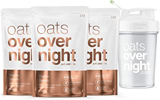 Oats Overnight - Mocha Dream - Premium High-Protein, Low-Sugar, Gluten-Free, Contains Coffee (2.8oz per pack) (3 Pack with BlenderBottle)