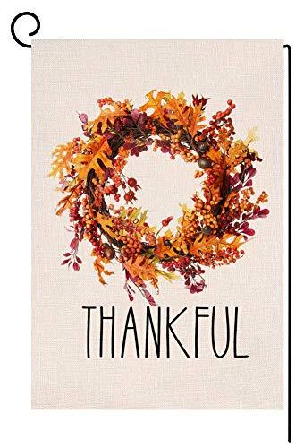 Corona de Acción de Gracias para el jardín, bandera vertical de doble cara, hojas de otoño, arpillera, patio, decoración al aire libre, 12.5 x 18 pulgadas (125139)