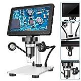 Kacsoo Microscopio Digital de LCD Microscopio Digital con Pantalla LCD Microscopio 720P Pantalla LCD Portátil LED Lupa Digital para Reparación de Relojes Tasación De Joyas Investigación Científica