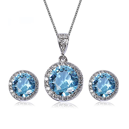 AMYJANE Crystal Jewelry Set for Women - Sterling Silver Round Aquamarine Cubic Zirconia Bridal Pendant Necklace Earrings Set for Wedding Bride Bridesmaids Birthstone Jewelry Sets
