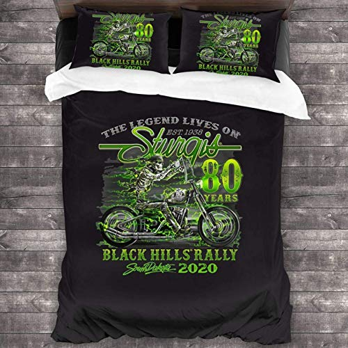 Yuanmeiju Juego de Cama 2020 Sturgis Motorcycle Rally Comforter Set, 3 Piece Bedding Set, 86X70 Set with 1 Quilt Set and 2 Pillowcase Soft and Comfortable