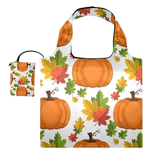 Bolsas de compras reutilizables – Happy Halloween calabaza hoja plegable grande bolsas de tela de reciclaje ecológicas con bolsa