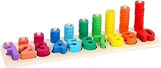 KangRuiZhe Montessori Materials Wood Math Blocks Shape Sorter Number and Stacking Learning Toys (Mathematics)