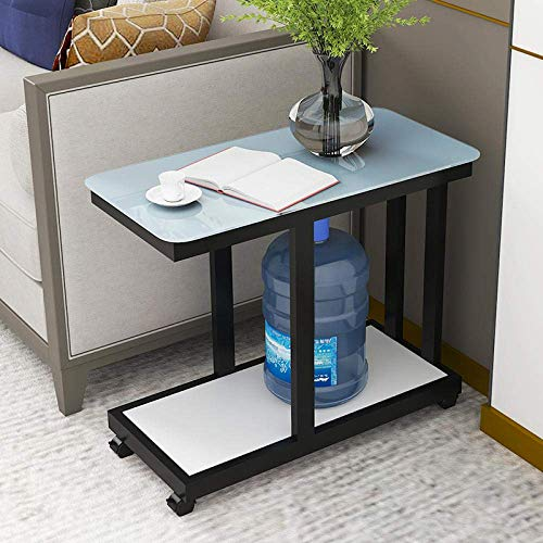 XHCP Cocktail Table,Small Square Table, Simple Home Sofa Side Table, Corner Table, Coffee Table Glass Bedside Table, Suitable for Balcony Yard Anti-Bump-61 36 60_Black+White (Movab