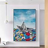 Xiwei Decoración del hogar, Pintura de Papel de Origami, Barco de Vela, Pintura artística, Graffiti, Cuadro de Pared de Moda nórdica para Sala de Estar Arte Deco Sin Marco