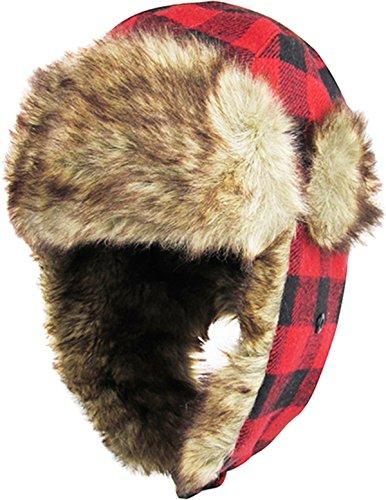 Lumberjack Plaid Aviator Trapper Hat Trooper Ear Flaps Ushanka Eskimo Bomber Russian Cold (One Size, Red Black)