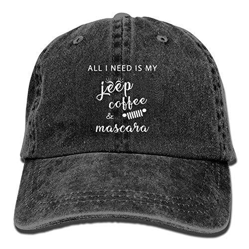 Hoswee Unisex Kappe/Baseballkappe, All I Need is My Jeep Coffee Mascara Denim Hat Womens Curved Baseball Cap