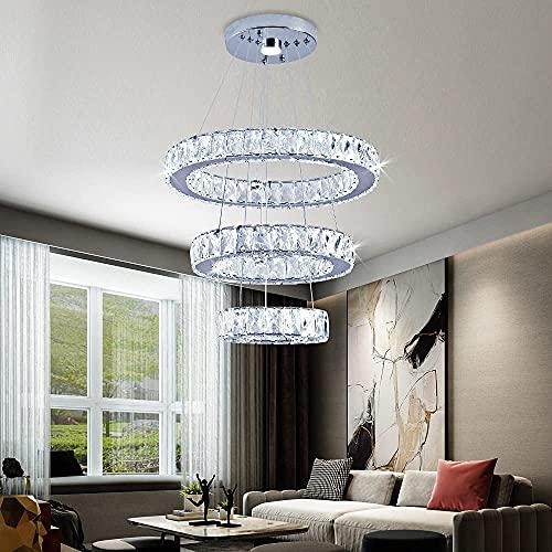 Crystal Chandelier Modern DIY Ceiling Light Fixture LED 3 Rings Round Pendant Lighting Adjustable...