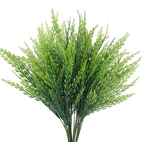 HUAESIN 4pcs Künstliche Pflanzen Weizen Kunstpflanzen Grün Balkonpflanze Kunstgras Dekopflanzen Weizengras Unechte Pflanze für Draußen Blumentrog Veranda Balkon Garten Deko