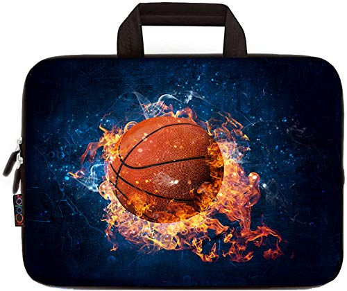 11.6 12 12.2 Inch Laptop Sleeve Carrying Bag Chromebook Cover Case, Neoprene Netbook/Ultrabook Protective Briefcase Pouch Tote with Handle Fits Dell HP Google Acer Lenovo Asus (Basketball Flame)