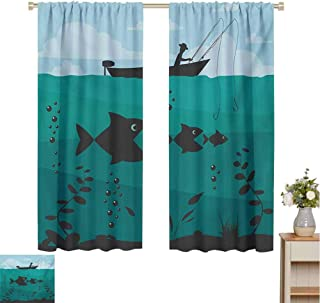 Linhomedecor Fishingboys Room decorSingle Man in Boat Luring with Bobbins Nautical Marine Sea Nature Funky Image Printlight curtainBlue Teal72 x 63 inch