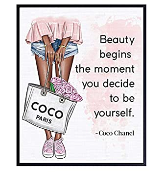 Positive Quotes Wall Decor for Black African American Women - Inspirational Motivational Coco Quote Wall Art - Luxury Glam Fashion Wall Decor - Wall Art For Designer Handbags Fan Couture Fashionista