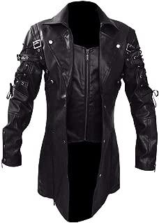 iLOOSKR Handsome Men Vintage Leather Jacket Biker Motorcycle Zipper Patchwork Long Sleeve Coat Top Blouses