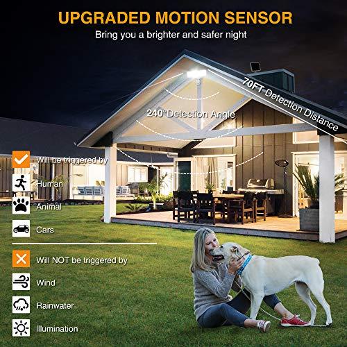 SOLLA 2000LM Solar LED Security Light Outdoor Motion Sensor, Super Bright Solar Flood Lights, 5000K, IP65 Waterproof Exterior Light with 3 Adjustable Head for Yard, Patio, Garage