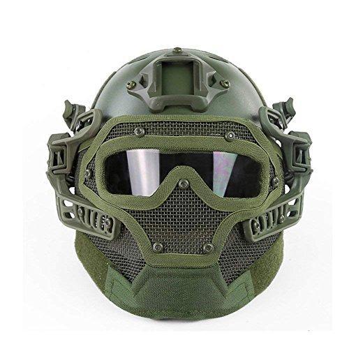 WarmHeartting Taktischer Helm PJ-Typ Fast Molle mit Schutzmaske und Schutzbrille G4 System für Airsoft Paintball CS Outdoor