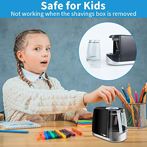 Colored Pencil Sharpener, Electric Pencil Sharpener for Colored Pencils, Auto Stop Helical Blade Pencil Sharpener for Artists, Kids,Battery Operated Pencil Sharpeners for 6-8mm NO. 2 & Colored Pencils Photo #4