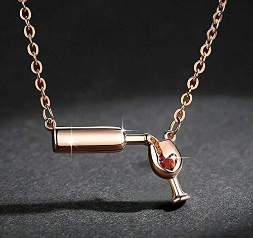 ERYHF Halskette Roségold/Splitter/Gold Farbe Liebe Wein gefüllt Weinglas Anhänger Halskette Liebhaber Wein Bier Flasche Halsketten Heiß, Roségold Farbe