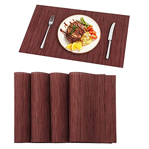 N\C PVC Placemat, Bamboo Stripe Fashion Coaster, Non-Slip Insulation Mat, Washable, Reusable, Household, Hotel, Western Restaurant, Coffee Shop, 6 per Set, Size 17.7 Inches X 11.8 Inches
