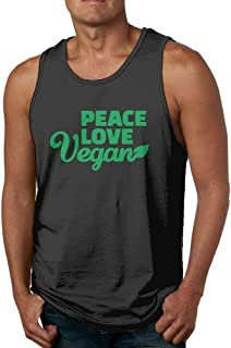 Peace Love Vegan Mens Tank Top Casual Gym Muscle Summer Vest