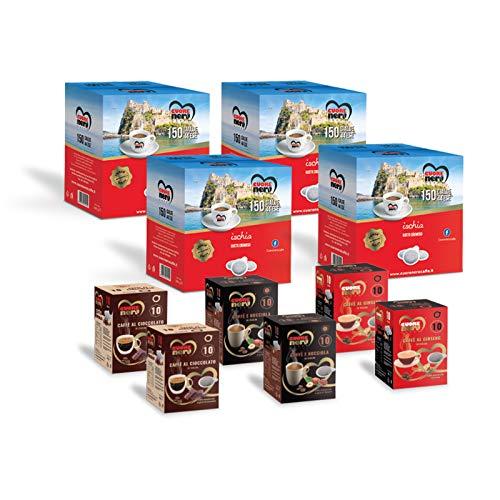 Cuore Nero Caffè – 600 Cialde Miscela Ischia Sapore Corposo e Cremoso + Caffè Aromatizzati al Ginseng, Nocciola, Cioccolato ESE44 Filtro Carta 44mm