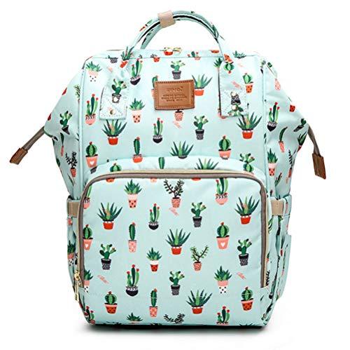Bolsa de pañales de maternidad multifunción de gran capacidad Mochila de viaje portátil impermeable Bolsas de pañales para bebés para el cuidado del bebé (Cactus)