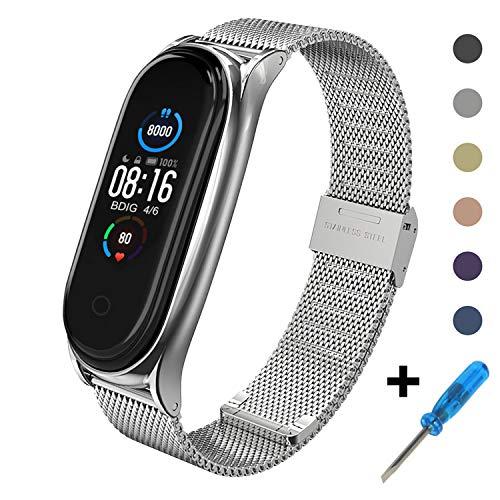 BDIG Kompatibel mit für Mi Band 5 Armband, MiBand 5 Ersatzband Wasserdicht Edelstahl Replacement Wrist Strap Armband Zubehör für Xiaomi Mi Band 5, Silber