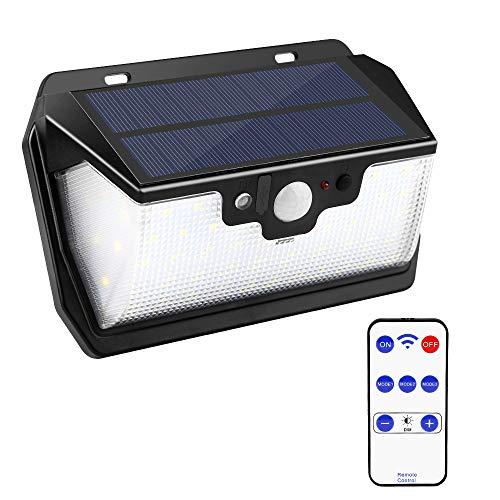 Solarlampen für Außen mit Bewegungsmelder, Vegena 55 LED Beleuchtung Garten Solarleuchten 3 Modi 3000mAh IP65 Solar Licht Wasserdichte 270° Weitwinkel Wandleuchte Aussen mit Fernbedienung