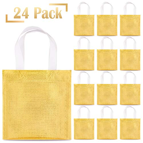 Whaline 24 Pieces 8''x8'' Non-Woven Small Party Bags, Gift Bags, Reusable Candy Goodie Bags, Flat Bag,Glossy Tote Bags, DIY Craft Bags for Hoilday Event, Birthday (Golden)