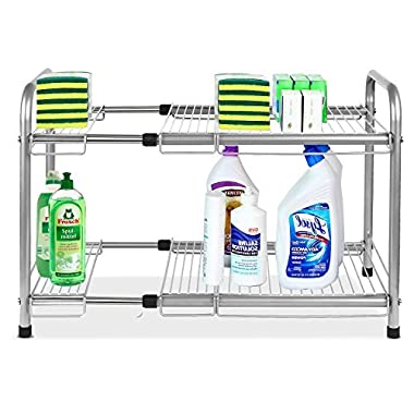 HOMFA Under Sink Expandable Cabinet Organizer Storage Rack Kitchen and Bath Multipurpose Tidy Stacking Shelf 2 Tier