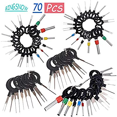 70 Pcs Terminal Removal Key Tool, BingSnow Terminal Pin Extractor Puller Repair Remover Key Tools for Most Connector Terminal