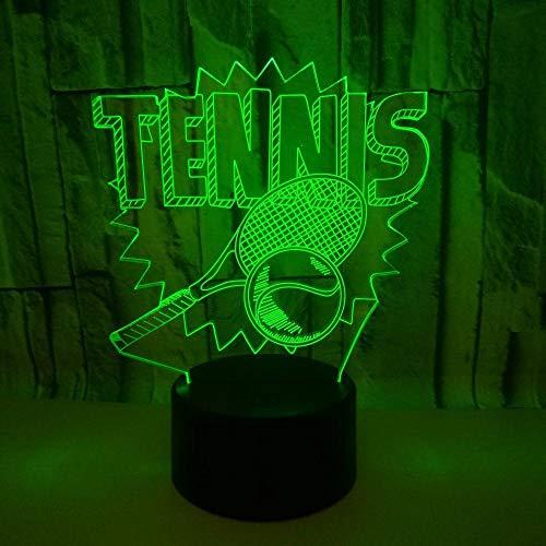 Lámpara 3D Luz De Noche Lámpara, Raqueta De Tenis Deportiva Led Multicolor Usb Para Niños Chicas Niños Bebé Luces De Decoración Del Hogar
