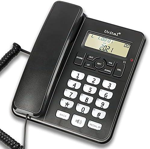 Corded phone with alarm clock