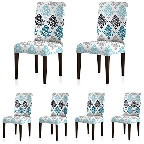 ColorBird European Style Spandex Chair Slipcovers Removable Universal Stretch Elastic Chair Protector Covers for Dining Room, Restaurant, Hotel, Banquet, Ceremony (Set of 6, Gradient Damask)