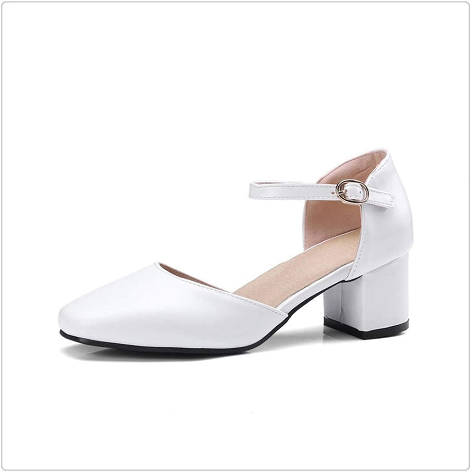 Yyixianma New Plus Size 33-48 Ankle-Strap Summer shoes Women Sandals Fashion Square Heels Office Lady Sandals Woman White 10
