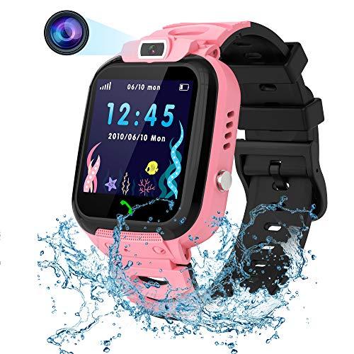 Vannico Smartwatch Niño, Reloj Inteligente Niña Ip68, LBS SOS Llamada Bidireccional, Smartwatch Phone con Voice Chat Cámara Juegos Compatible para Android e iOS (Rosa)