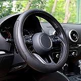 Automix, Coprivolante per auto in pelle, morbido, antiscivolo e inodore, misura universale 38-40 cm