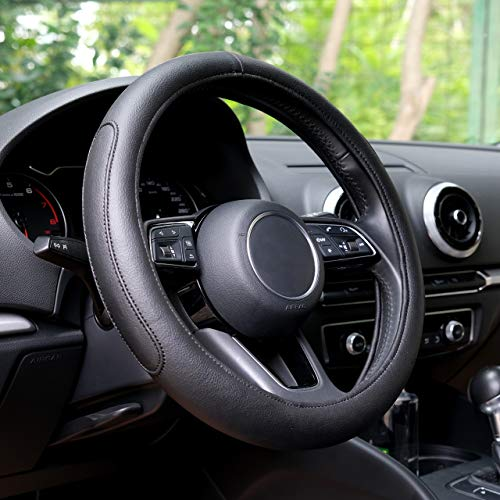 Automix lenkradbezug Leder - weich, rutschfest und geruchlos - Universalgröße 38-40 cm (schwarz)