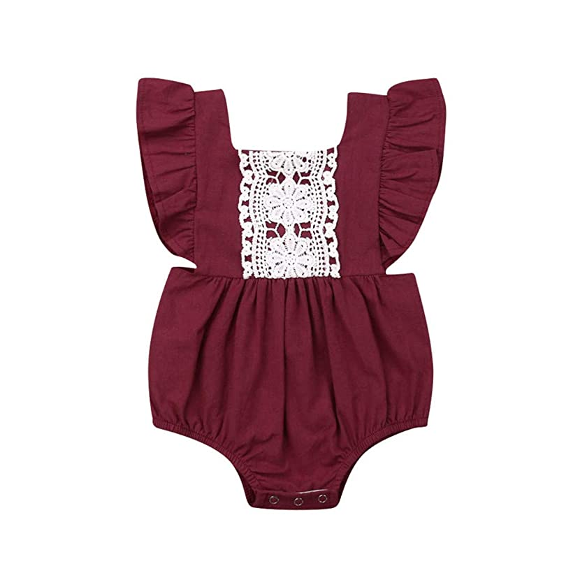 Infant Baby Sister Girl Fly Sleeve Lace Ruffles Backless Bodysuit Romper Clothes