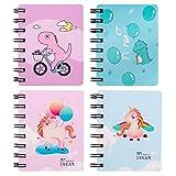Yuccer 4 Stück Mini Notizbuch Kinder Tragbar Leere Seiten Klein Spiralbuch mit Cute Cartoon Muster Mini Tagebuch Notizblock (Blau + Rosa)